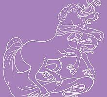 White line Unicorn by LCWaterworth