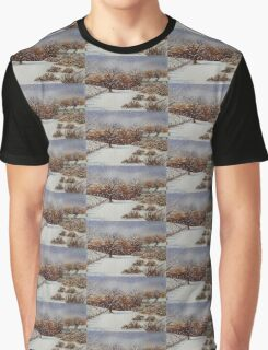 snow scene with snow covered trees and cottages painting  Graphic T-Shirt