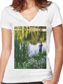 fishing is fun Women's Fitted V-Neck T-Shirt