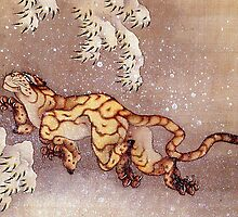 'Tiger in the Snow' by Katsushika Hokusai (Reproduction) by Roz Abellera Art Gallery