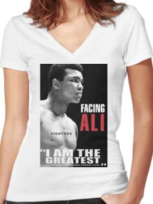 muhamad ali Women's Fitted V-Neck T-Shirt