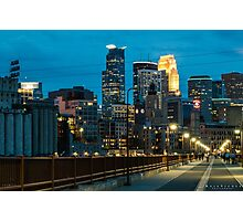 Downtown Minneapolis at night Photographic Print