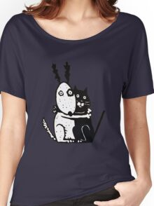 Bullie Dog and Black Cat Women's Relaxed Fit T-Shirt