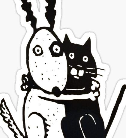 Bullie Dog and Black Cat Sticker