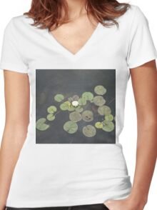 Just Chillin - A Little Turtle Relaxing on a Waterlily Leaf Women's Fitted V-Neck T-Shirt