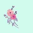 Rose, Soft Peach on Mint by ThistleandFox