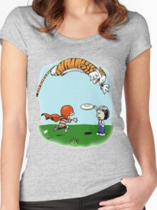 Tigerhobbes Play With Best Friend  Women's Fitted Scoop T-Shirt