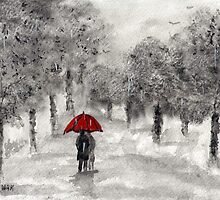 Stroll in the Rain by Halina Plewak