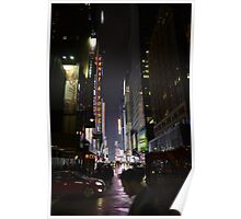 New York Street At Night Poster