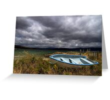 Blue, blue boat - Bruny Island, Tasmania Greeting Card