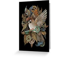 Clockwork Sparrow Greeting Card