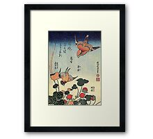 'Wild Strawberries and Birds' by Katsushika Hokusai (Reproduction)  Framed Print