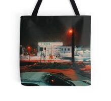 8:26, walking during a blizzard Tote Bag