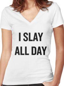 I Slay, All Day (Black) Women's Fitted V-Neck T-Shirt