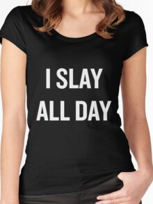 I Slay, All Day (White) Women's Fitted Scoop T-Shirt