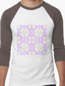Pastel repeating kaleidoscope blossom Men's Baseball ¾ T-Shirt