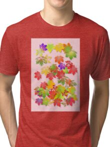 Falling maple leaves Tri-blend T-Shirt