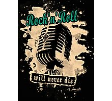 Rock-n-Roll Microphone - green Photographic Print