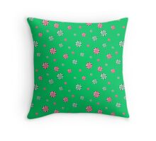 Christmas Candies Falling - Green Throw Pillow