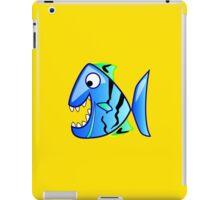 Blue Piranha Cartoon Fish iPad Case/Skin