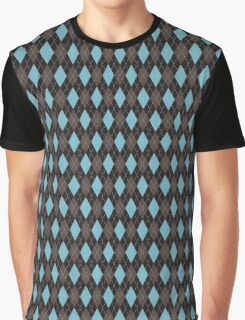 Retro Argyle Blue Brown Graphic T-Shirt