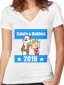Calvin and Hobbes 2016 Women's Fitted V-Neck T-Shirt