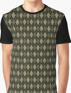 Retro Argyle Olive Green Pattern Graphic T-Shirt