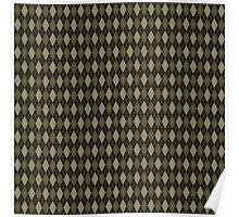 Retro Argyle Olive Green Pattern Poster