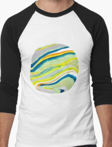 Earth Lines Marbling, Unite Men's Baseball ¾ T-Shirt