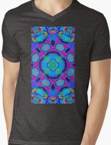 Rainbow swirl floral psychedelic pattern Mens V-Neck T-Shirt