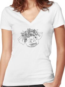Flower Crown Pig Women's Fitted V-Neck T-Shirt