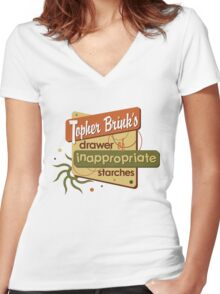 Inappropriate Starches Women's Fitted V-Neck T-Shirt