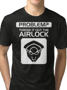 Throw it Out the Airlock in White Tri-blend T-Shirt
