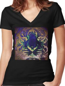 Tiger_8566 Women's Fitted V-Neck T-Shirt