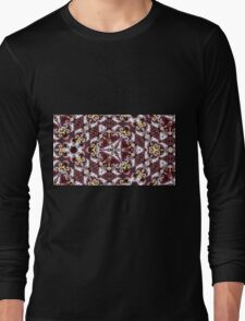 Cranberry and gold triangular repeating kaleidoscope design Long Sleeve T-Shirt