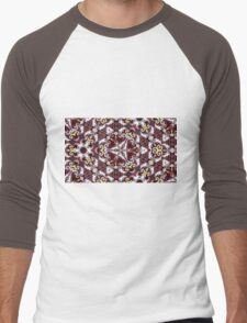 Cranberry and gold triangular repeating kaleidoscope design Men's Baseball ¾ T-Shirt