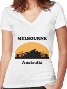 Sydney Tourist, Melbourne Clueless Women's Fitted V-Neck T-Shirt