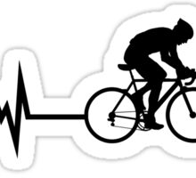 Cycling Heartbeat Black Sticker