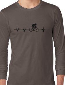 Cycling Heartbeat Black Long Sleeve T-Shirt