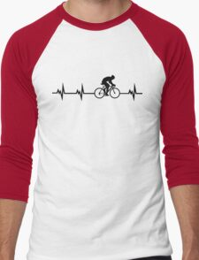 Cycling Heartbeat Black Men's Baseball ¾ T-Shirt