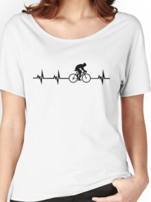Cycling Heartbeat Black Women's Relaxed Fit T-Shirt