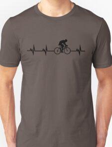 Cycling Heartbeat Black Unisex T-Shirt