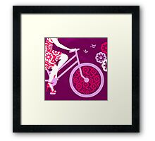 Silhouette of beautiful girl on bicycle  Framed Print