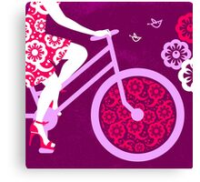 Silhouette of beautiful girl on bicycle  Canvas Print