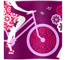 Silhouette of beautiful girl on bicycle  Poster