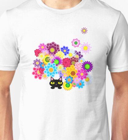 Black Cat Hiding in Flowerbed Unisex T-Shirt
