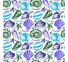 Seashell sketch pattern Photographic Print