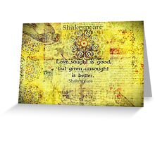 Shakespeare romantic love quote  Greeting Card