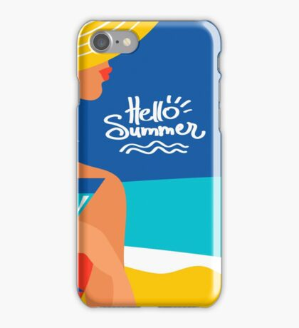 Summer background with beautiful woman silhouette iPhone Case/Skin