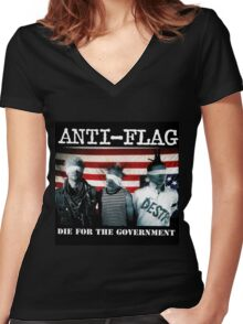ANTI FLAG DIE FOR GOVERNMENT Women's Fitted V-Neck T-Shirt